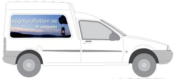 Bil reklam för sågmyraflotten