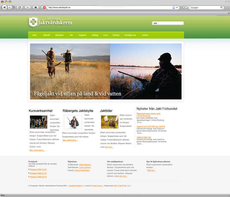 Rättviksjaktvårdskrets webbplats med webbhotell från Kreativ Bureau