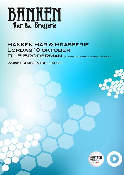 Klubb affisch Banken Bar & Brasserie oktober