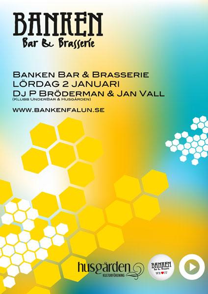 Klubb affisch Banken Bar & Brasserie Januari