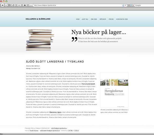 Ett exempel på en sida för böcker, Hallgren Björklund