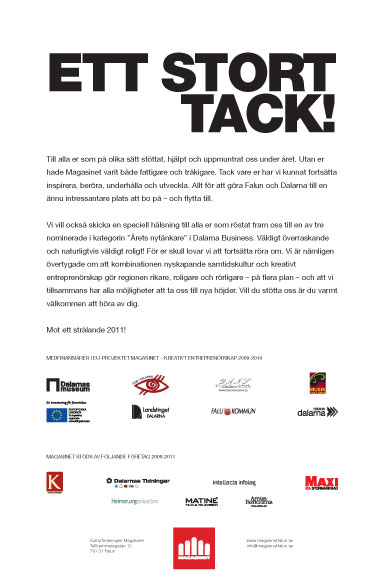Annons Dalarnas Tidningar tack för 2010