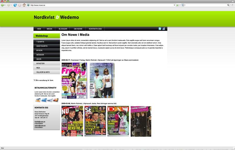 Exempel på en undersida för Nowe